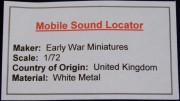 Mobile Sound Locator, 1:72